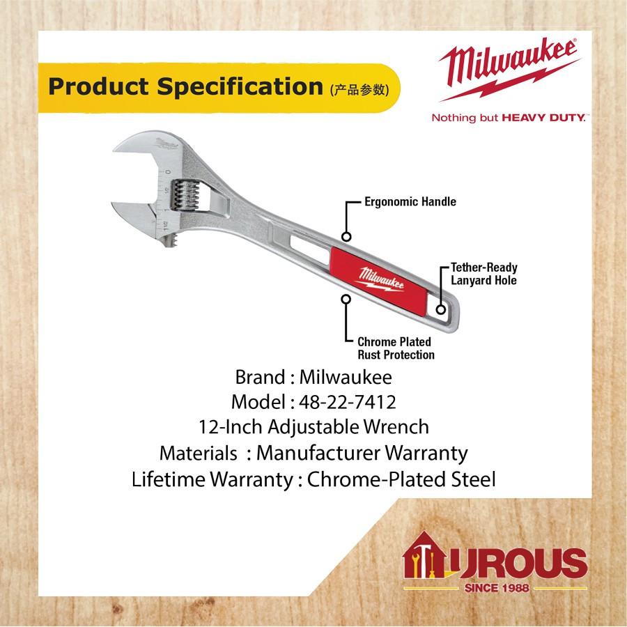 "Milwaukee 48-22-7412 12/"" Adjustable Wrench New"